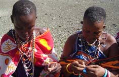 Women doing bead work